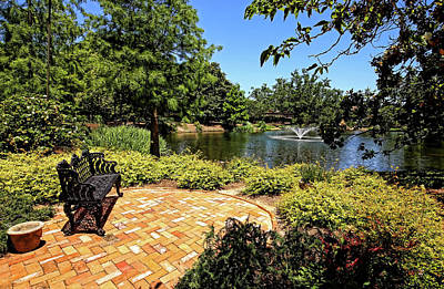 Photograph - Garden Bench And Lagoon by Judy Vincent