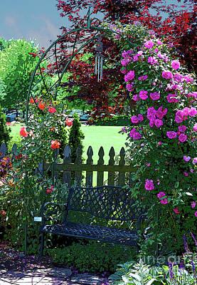 Garden Bench And Trellis Original