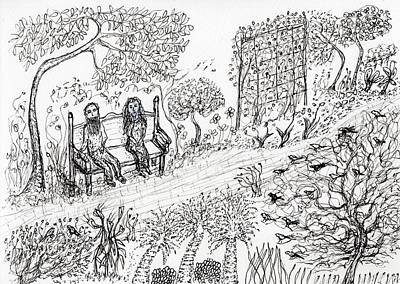 Drawing - Garden Bench by Jim Taylor