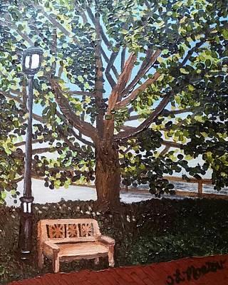 Lightpost Painting - Garden Bench by Tina Mostov