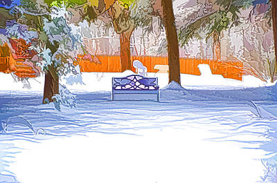Garden  Bench With Snow Art Print by Lanjee Chee