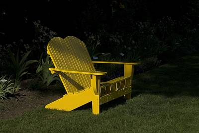 Photograph - Garden Bench Yellow by Sara Stevenson