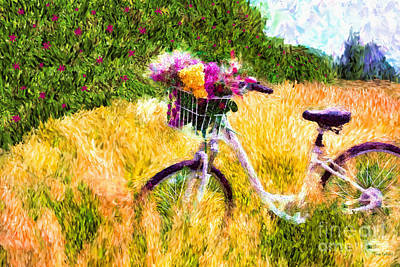 Digital Art - Garden Bicycle Print by Tina LeCour