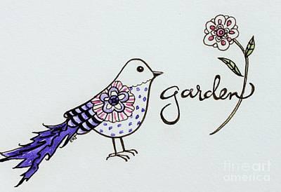 Garden Painting - Garden Bird by Elizabeth Robinette Tyndall