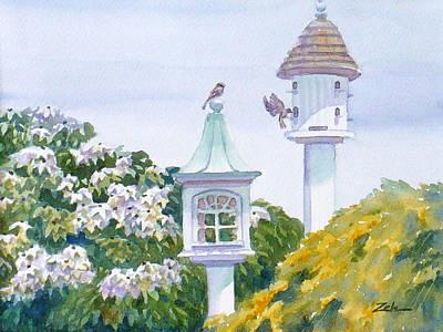 Painting - Garden Birdhouses by Janet  Zeh