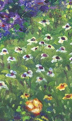 Yellow Flowers Painting - Garden Bloom Part A by Linda Mears