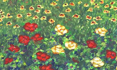 Red Flowers Painting - Garden Bloom Two by Linda Mears