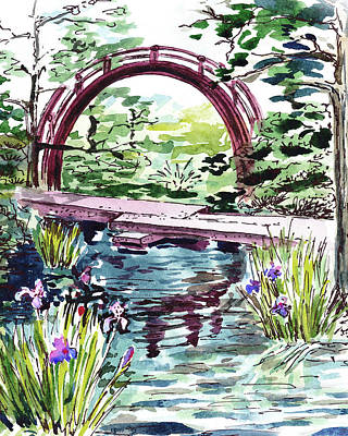 Painting - Garden Bridge Over The Pond Watercolor by Irina Sztukowski