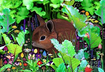 Digital Art - Garden Bunny And Flowers by Nick Gustafson