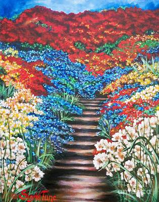 Painting -  Red White And Blue Garden Cascade.               Flying Lamb Productions  by Sigrid Tune