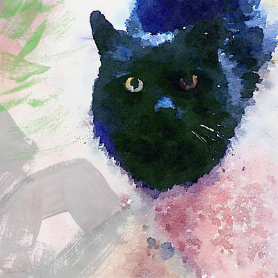 Green Mixed Media - Garden Cat- Art By Linda Woods by Linda Woods