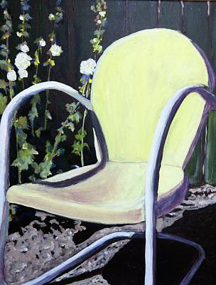 Holly Hocks Painting - Garden Chair by Debbie Phillips Conejo