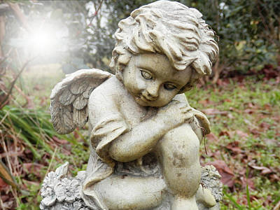 Photograph - Spiritual Angel Garden Cherub by Belinda Lee