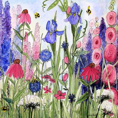 Garden Cottage Iris And Hollyhock Art Print