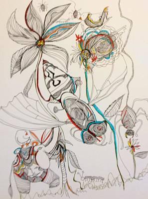 Wall Art - Drawing - Garden Creature by Rosalinde Reece