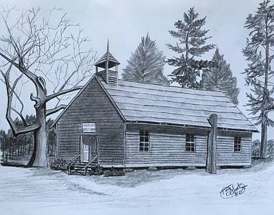 Drawing - Garden Creek Baptist Church  by Tony Clark