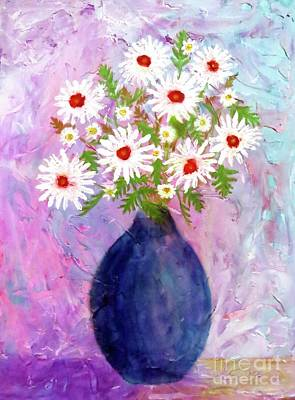 Painting - Garden Daisies Cobalt Vase by Desiree Paquette