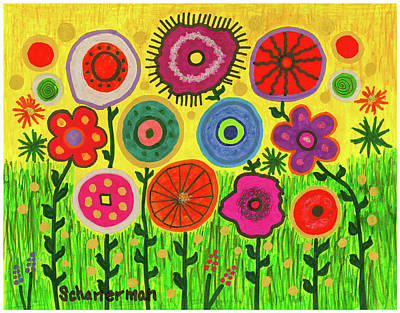 Uplifting Drawing - Garden Extravaganza by Susan Schanerman