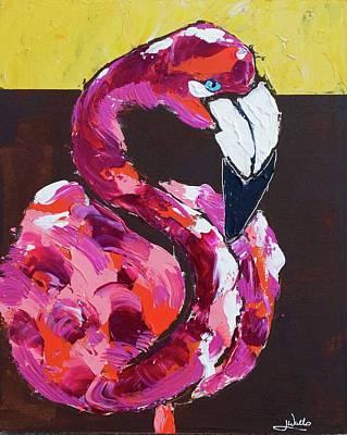 Wall Art - Painting - Garden Flamingo by Jen Walls