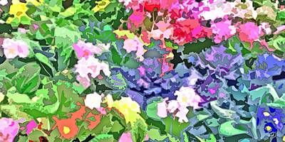 Spring Digital Art - Garden Flower Charm Abstract by Linda Mears