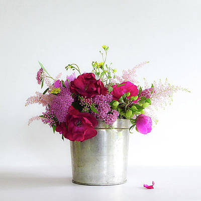 Photograph - Garden Flowers In Tin by Colleen VT