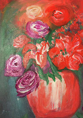 Painting - Garden Flowers In Vase 1 by Angela Holmes