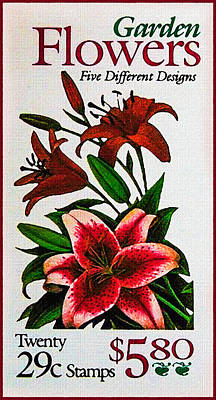 United States Postage Painting - Garden Flowers by Lanjee Chee