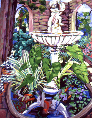Garden Fountain Art Print