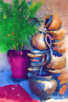 Digital Art - Garden Fountain by Kirt Tisdale