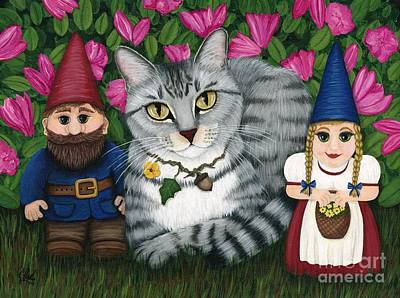 Painting - Garden Friends - Tabby Cat And Gnomes by Carrie Hawks