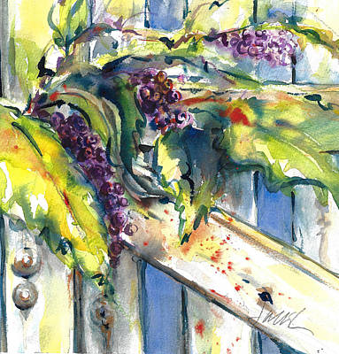 Painting - Garden Gate In Fall With Poke Berries  by Jacki Kellum