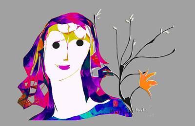 Digital Art - Garden Girl by Asok Mukhopadhyay