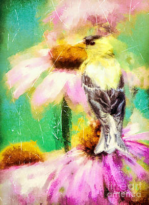 Digital Art - Garden Goldfinch by Tina LeCour