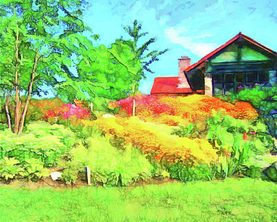 Banquet Digital Art - Garden House by Leslie Montgomery
