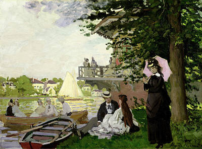 Woman On The River Painting - Garden House On The Zaan At Zaandam by Claude Monet