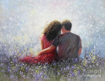 Garden Hugs Lovers Art Print by Vickie Wade