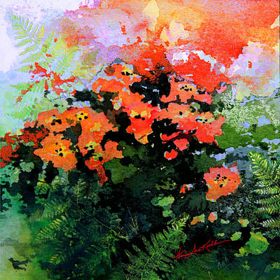Print Of Poppy Painting - Garden Impressions by Hanne Lore Koehler
