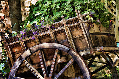 Wagon Wheels Photograph - Garden In A Wagon by Lana Trussell