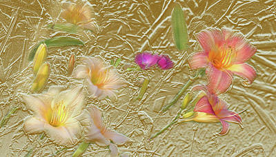 Mixed Media Royalty Free Images - Garden in Gold Leaf2 Royalty-Free Image by Steve Karol