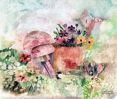 Mushroom Mixed Media - Garden In The Rain by Arline Wagner