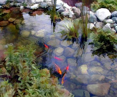Goldfish Digital Art - Garden Koi Pond by Elaine Plesser