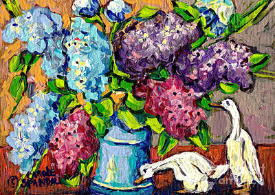 Painting - Garden Lilacs In Blue Vase And Porcelaine Ducks Original Painting By Carole Spandau by Carole Spandau