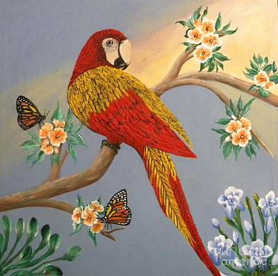 Painting - Garden Macaw by Iris  Mora