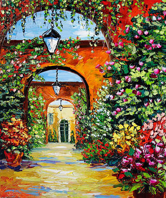 New Orleans Oil Painting - Garden Of Arches by Beata Sasik