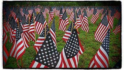 Photograph - Garden Of Flags - Flag Day - Military Heroes - Boston Common by Joann Vitali
