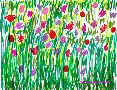 Uplifting Drawing - Garden Of Flowers by Susan Schanerman