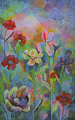 Irises Painting - Garden Of Intention - Triptych Center Panel by Shadia Derbyshire