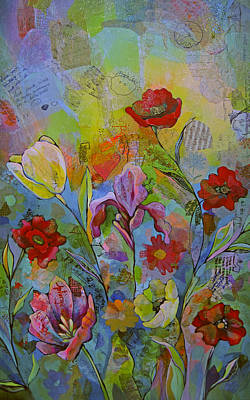Daffodils Painting - Garden Of Intention - Triptych Right Panel by Shadia Derbyshire
