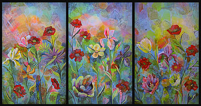 Daffodils Painting - Garden Of Intention - Triptych by Shadia Derbyshire