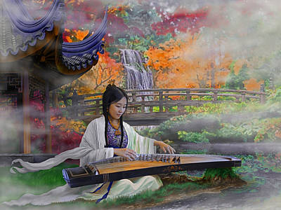 Fluted Mixed Media - Garden Of Peace - Girl With Guzheng by Reb Benno